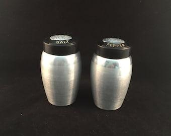 Vintage Aluminum Salt and Pepper Shakers With Black Lids