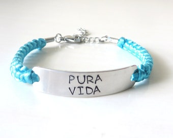 Pura Vida Life is Wonderful Excellent Hand Stamped Costa Rican Inspirational  Bracelet