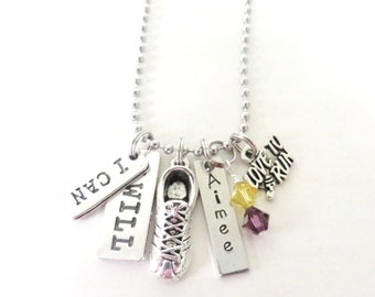 I Can I Will Hand Stamped Love to Run Sneaker Marathon 5k 10k Charm Necklace YOU Choose Necklace Length and Birthstone Charm