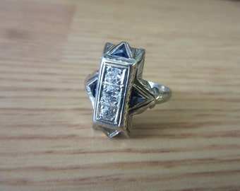 Vintage 18K White Gold Diamond and Sapphire Wide Ring