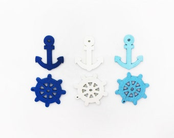 Blue and White Sea Anchor Steering Wheel Wooden Bead, Coastal Theme Bead, Children Bead, Wooden Charm, DIY Wood Bead, Blue, White