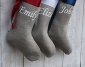 Personalized christmas stockings with bow , Red Blue White burlap christmas stockings personalized  handmade Family christmas stockings