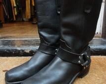 Vintage black leather Durango harness ring boots motorcycle biker US 10.5 rockabilly