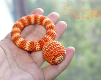 Crochet orange ring teether, teething toy, wooden toy, multicolor, waldorf toy, Wooden Teething Ring for your Newborn Baby, Ring Teether