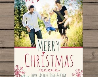 Merry Christmas Photocard PRINTABLE Christmas card Holidays Greeting Card Merry Christmas Vintage Rustic christmas card Photo card Digital