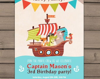 Pirate Birthday Invitation Pirate Party Invite Pirate Birthday Party Invitation Birthday Boy birthday blue red Digital PRINTABLE ANY AGE