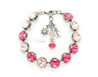 PINK ROSE PETALS 10mm Cushion Cut Bracelet Made With Swarovski Elements *Antique Silver *Karnas Design Studio *Free Shipping