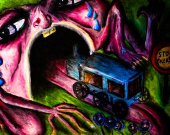 Runaway Train Original Art Print - Creepy Pastel Artwork - Abstract Psychology - Therapy Illustration Lowbrow Psychedelic Trippy Whimsical
