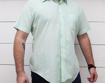 60s Men's Mint Green Retro Button up Collar Shirt L - Rockabilly 50s 70s