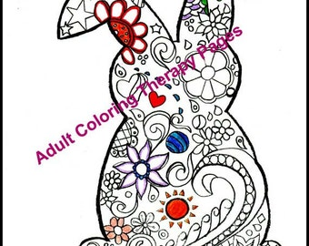 Coloring Book Adult Kids Bunny Egg Calming Anti Stress Therapy Bookmark