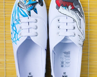 Hand painted Pokemon sneakers, white canvas shoes