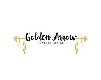 Custom Logo, Gold Arrow Logo, Premade Logo, Logo Design, Business Branding, Pre-made Logo, Logo, Boho Gold Logo
