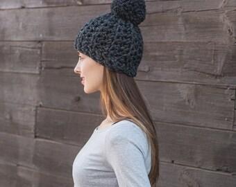 Grey Pom Pom Hat // Chunky Wool Beanie // Hat with Pom Pom // THE CLEMENTINE shown in Charcoal