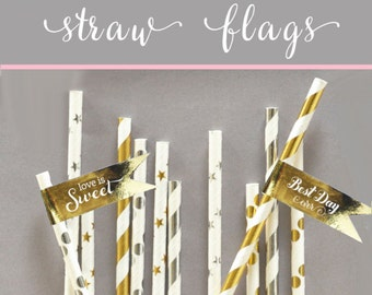 Gold Wedding Straw Tags - Black and Gold Straws Flag - Gold Foil Straw Flag - Siver & Gold Wedding Decorations (EB2351FW) set of 20| labels