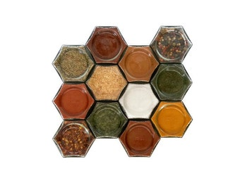 ORGANIC SPICE RACK, 12 Large 4 oz Magnetic Jars Filled with Spices, your choice, spice rack, kitchen gift, for mom, spice kit, spice labels