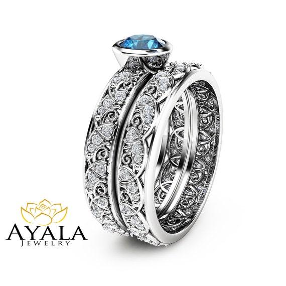 London Blue Topaz Engagement Ring Set In 14k White Gold Art