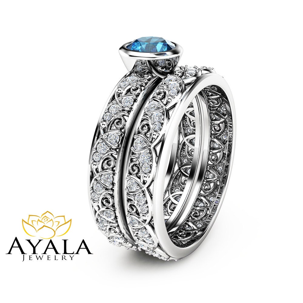 London blue topaz engagement ring set in 14k white gold art for Blue topaz wedding ring sets