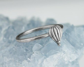 Hot Air Balloon Ring Solid .925 Sterling Silver Stacking Rings Jewelry