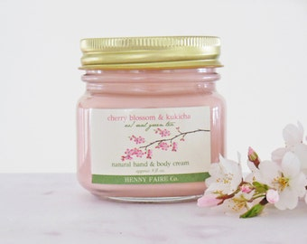SALE cherry blossom & kukicha hand and body cream | natural lotion w/ real green tea, our cherry blossom accord and ho wood | 8 oz glass jar