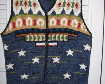 Susan Bristol Hand-Knitted Vested Interest Sweater 2X A Plus Find !  Fab Detail