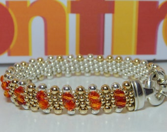 Women on Fire Dovera Bracelet - Swarovski Fire Opal Crystals, Sterling Silver, 14k Gold