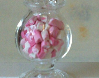 Miniature Jar of Pink and White Candy Cubes