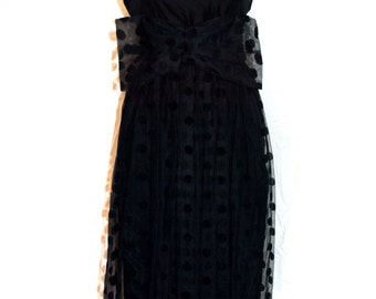 An Original Vintage / Retro 1980s does 1950s Black Taffeta Evening / Prom Dress By Simon Jeffrey London Size XS Petite Dress