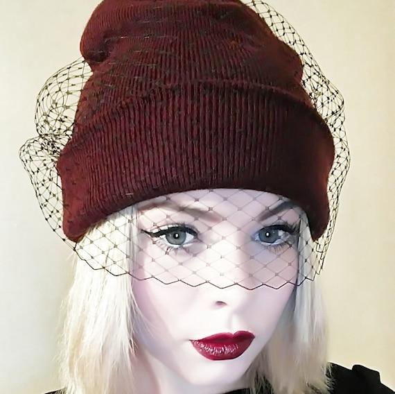 Beanie hat with veil Veil beanie Winter hat by ...