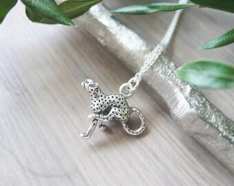 Sterling Silver Cheetah Necklace, Cheetah Jewelry, Tiny Cheetah, Small Cheetah, Running Cheetah, Simple Cheetah, Modern Cheetah