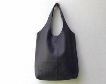 Black leather hobo bag,Black leather tote,Black shoulder bag,Black leather bag