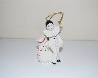 "Vintage Harlequin Clown & Snowman Ceramic Ornament 3.5"""