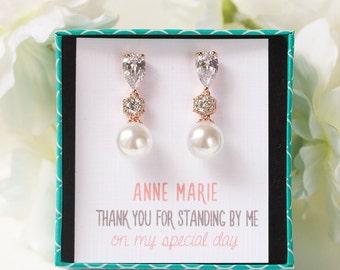 Bridesmaid Earrings Wedding Drop Earrings Personalized Bridesmaids Gifts Pearl Earrings For Bridesmaids Rose Gold Drop Earrings E348-RG