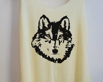 CLEARANCE The Wolf Game of sketch Shirt  Animal shirt Women Shirt Tank Top Women T-Shirt Singlet Tunic Size S,M,L