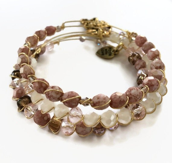 items similar to sparkly pink beaded bracelet set pink