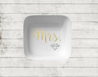 Mrs. Jewelry Dish. Jewelry Holder. Ring Holder. White Ceramic Dish. Bridal Gift