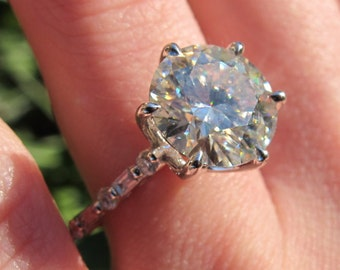 10mm Cathedral Engagement Ring Setting, Large Stone Semi Mount, Round and Baguette Diamond Setting