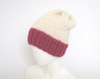 Knit Slouchy Two-Tone Hat With Pom Pom - Pink Hand Knitted Hat, Handknit Teen Beanie, Christmas Gift Idea, Handmade Hat