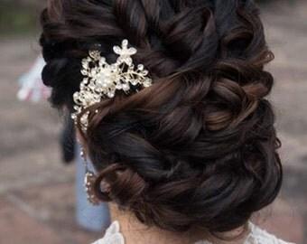 Silver Crystal Pearls Bridal Art Deco Hair Comb, Downton Abbey, Great Gatsby, Vintage Hairpiece, Bridal Hair Accessory, Crystal Headpiece