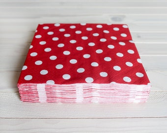 30 paper napkins - red polka dot - 3 layers, 33x33 cm