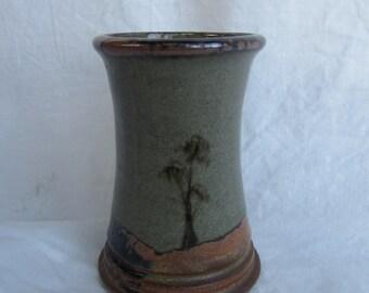 1970s landscape, studio pottery vase