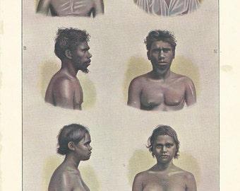 1910 PEOPLE OF AUSTRALIA. Queensland, Aboriginal Australians...  original antique print 105 years old nice print!