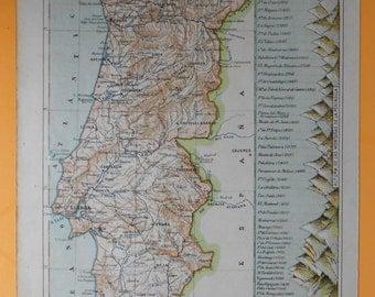 1928 PORTUGAL Antique map. Lisbon... original antique print 87 years old nice print!