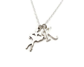 Small Ballerina Necklace Personalized Ballet Necklace Dancer Necklace Ballet Jewelry Customized Initial Necklace Letter  Sports Necklace