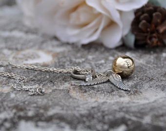 Golden snitch necklace harry potter jewelry quidditch necklace gryffindor hogwarts wings ring necklace harry potter gift