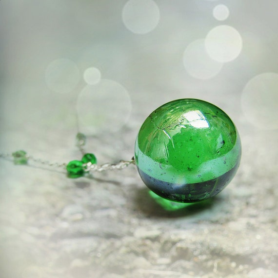 Green Glass Marble : Green glass sphere necklace large marble pendant