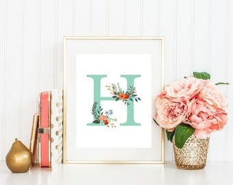 Mint Green Nursery Letter H Printable Art Print 5x7 8x10 11x14 Cottage Chic Country Floral Nursery Wall Art  Baby Shower Party Decor
