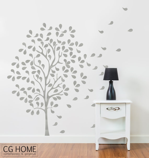 Nursery Wall Decal SILVER wallsticker TREE for kids Toddlers Removable decoration Silver Tree Baby Room Decal