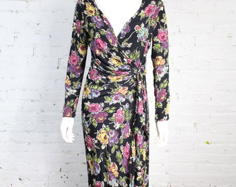 1980s 1990s Betsey Johnson Dress Black Floral Print Wrap Maxi P