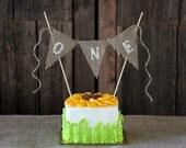 ONE | First Birthday | BURLAP CAKE Topper | Smash Cake | First Birthday Cake Topper | Rustic Cake Topper | Rustic Birthday Decorations