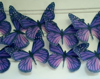 12 Edible Butterfly Purple Monarch Cake-Cupcake Topper,